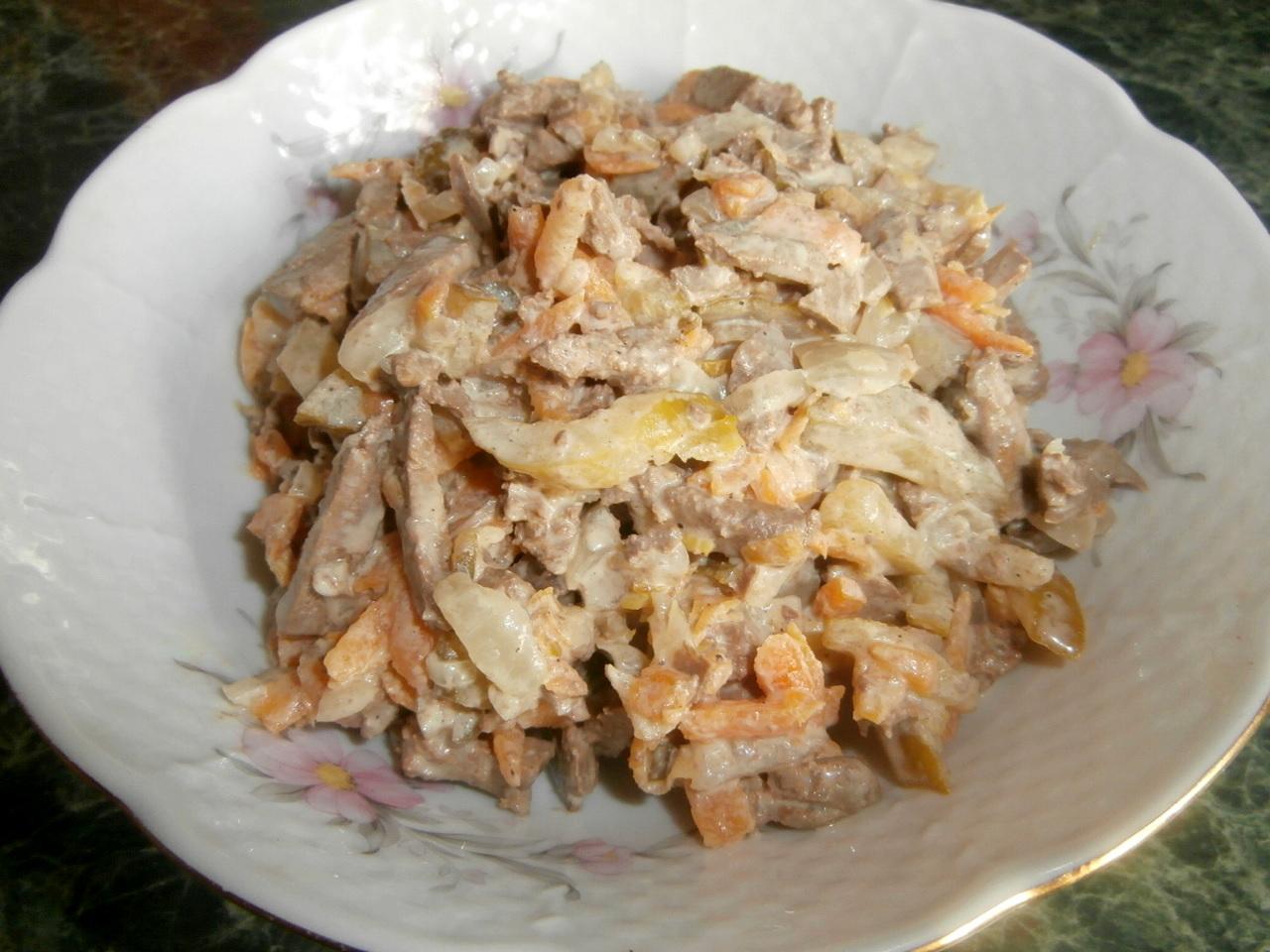 Салат из печени куриной с соленым огурцом рецепт