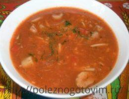 Миниатюра к статье Кавказский грибной суп с вермишелью и томатной пастой