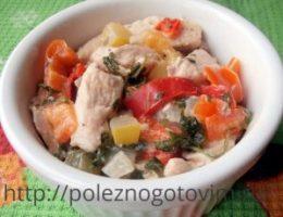 Миниатюра к статье Куриное филе в сливках с болгарским перцем