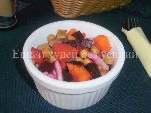 Миниатюра к статье Овощной салат с  тыквой в виде винегрета
