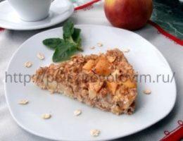 Миниатюра к статье Запеченная овсяная каша с яблоками или овсяный пирог с яблоками